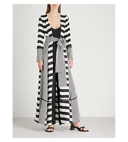 WE ARE LEONE Striped silk maxi cardigan (Contrast+stripe