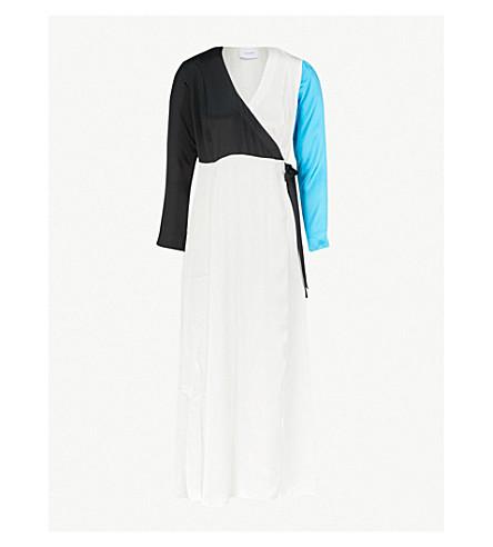 WE ARE LEONE Colourblocked silk-satin maxi dress (Turq