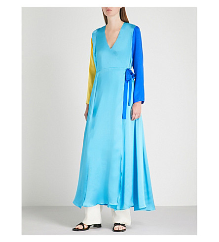 我们是 Colourblocked 丝绸缎纹最大包装礼服 (黄色