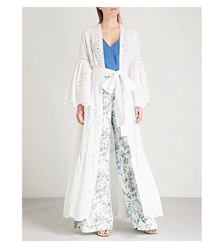 WE ARE LEONE Broderie anglaise cotton maxi jacket (Ivory+w/ivory
