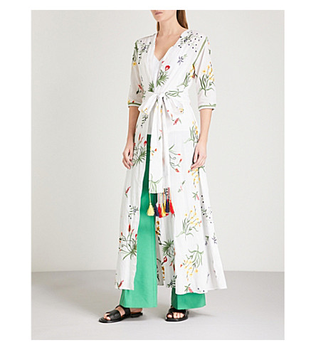 WE ARE LEONE Provence floral-embroidered cotton maxi jacket (Ivory+w/embroidery