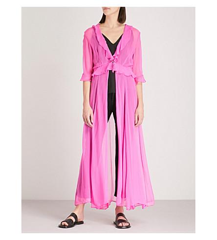 WE ARE LEONE Ruby ruffled silk-chiffon maxi jacket (Malibu+pink