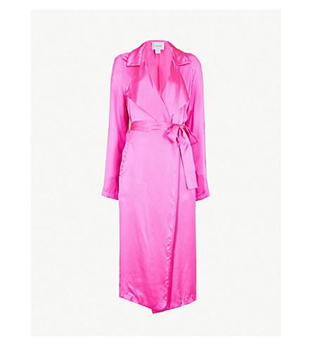 WE ARE LEONE Tallulah trench silk-satin jacket (Malibu+pink