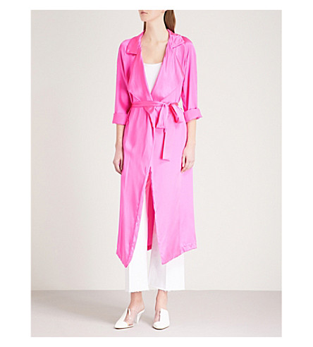 WE ARE LEONE Tallulah trench silk-satin jacket (Malibu+pink