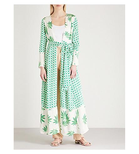 WE ARE LEONE Cali leaf-print silk-satin maxi jacket (Leaf
