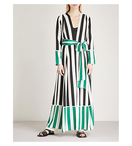 WE ARE LEONE Striped silk maxi jacket (Black/green+stripe