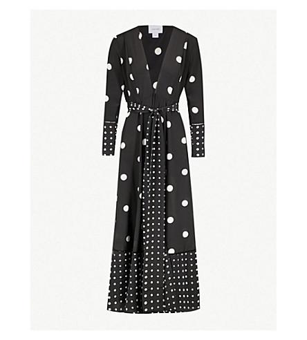我们是塞拉利昂波尔卡点-打印丝绸最大羊毛衫 (黑色 + 波尔卡 + 点