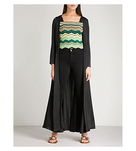 WE ARE LEONE Open-front silk-satin maxi jacket (Black