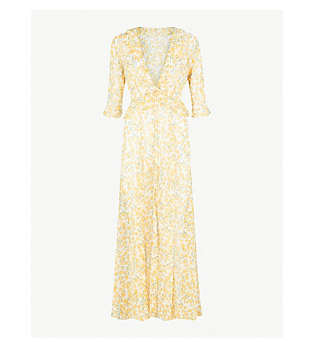 WE ARE LEONE Ruby floral-print silk-chiffon maxi jacket (Yellow+floral