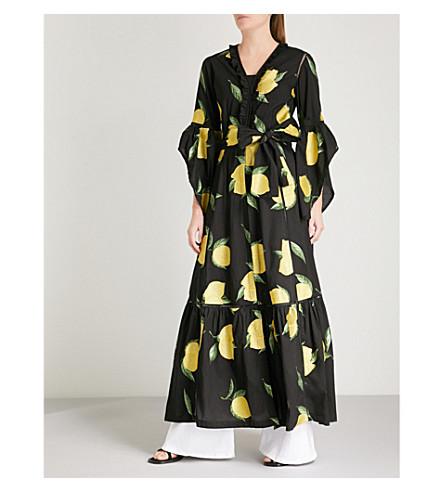 WE ARE LEONE Amalfi lemon-pattern cotton maxi jacket (Black+w/embroid+lemons