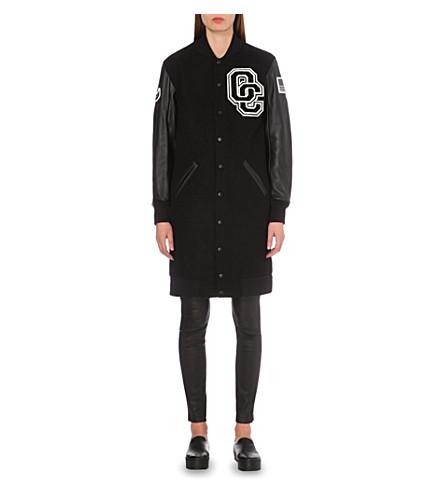 OPENING CEREMONY Embroidered long varsity jacket (Black+multi