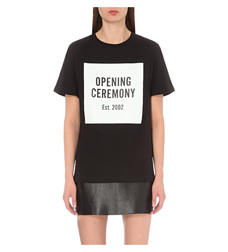 OPENING CEREMONY Logo-print cotton-jersey t-shirt (Black