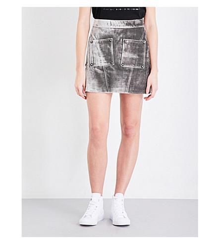 OPENING CEREMONY Stamped crocodile-embossed velvet mini skirt (Charcoal