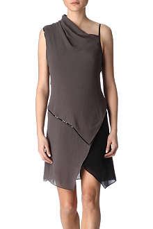 HELMUT LANG Patent piped dress