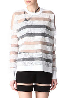 ALEXANDER WANG Sheer snakeskin-striped jumper