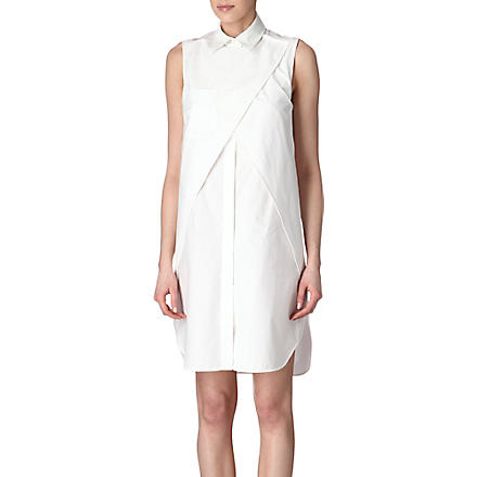 ALEXANDER WANG Leather-collar cut-out dress (Glacier