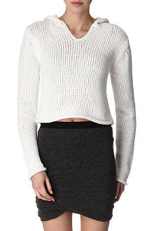 T BY ALEXANDER WANG Cropped hooded knit jumper