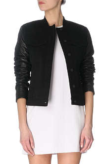 T BY ALEXANDER WANG Leather-sleeved denim jacket