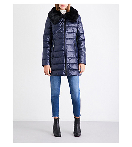 MICHAEL MICHAEL KORS Faux-fur collar quilted shell jacket (True+navy