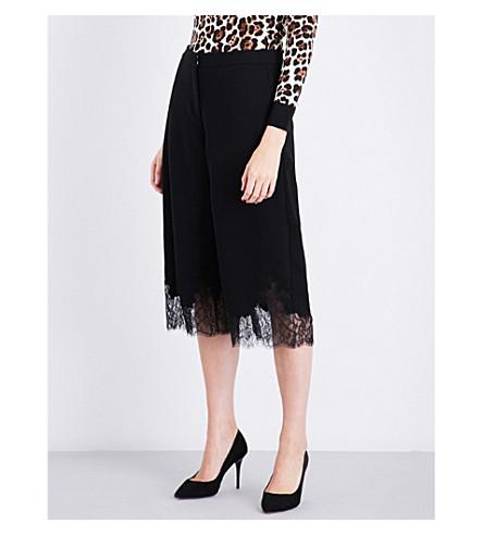 MICHAEL MICHAEL KORS Lace-hem straight high-rise crepe trousers (Black