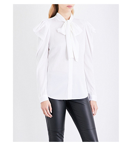 MICHAEL MICHAEL KORS Puff-shoulders stretch-silk blouse (White