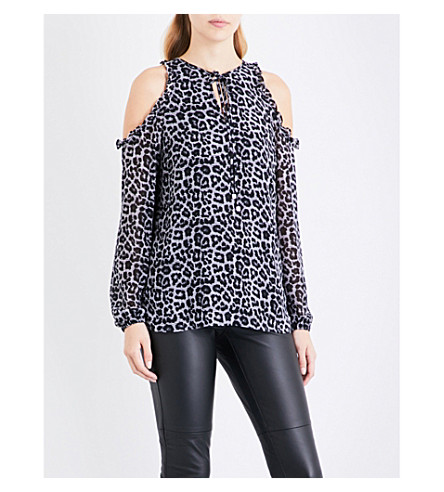 MICHAEL MICHAEL KORS Leopard-print cold-shoulder top (Black