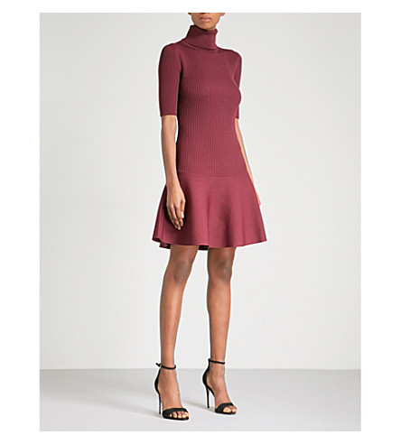 MICHAEL MICHAEL KORS Turtleneck knitted mini dress (Merlot