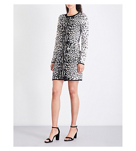 MICHAEL MICHAEL KORS Leopard-print jacquard-knit mini dress (Chocolate
