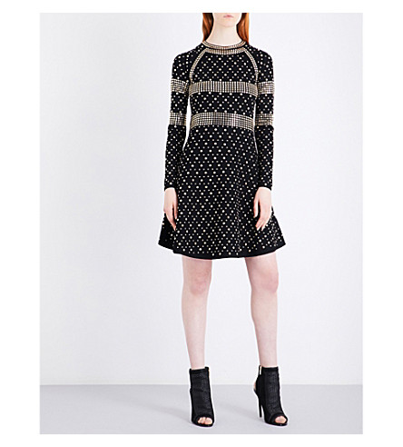 MICHAEL MICHAEL KORS Studded stretch-knit dress (Black+gold