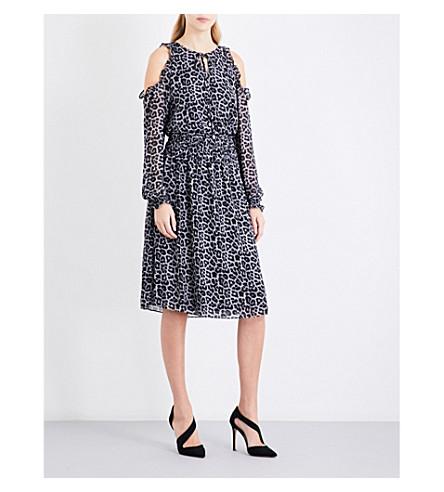 MICHAEL MICHAEL KORS Leopard-print cold-shoulder chiffon dress (Black