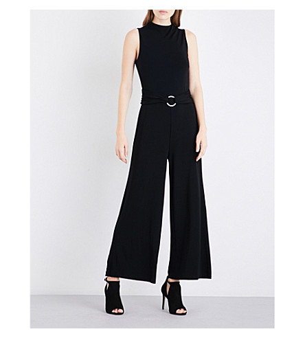 MICHAEL MICHAEL KORS Ruched belt sleeveless stretch-crepe jumpsuit (Black