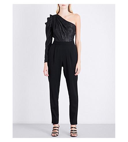 MICHAEL MICHAEL KORS One-shoulder metallic-panel crepe jumpsuit (Black