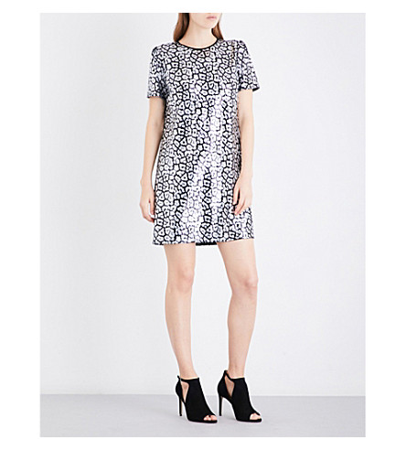 MICHAEL MICHAEL KORS Leopard sequinned mini dress (Black silver