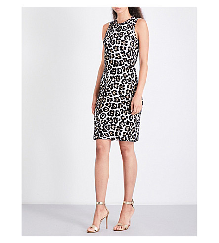 MICHAEL MICHAEL KORS Leopard-print jacquard-knit dress (Chocolate