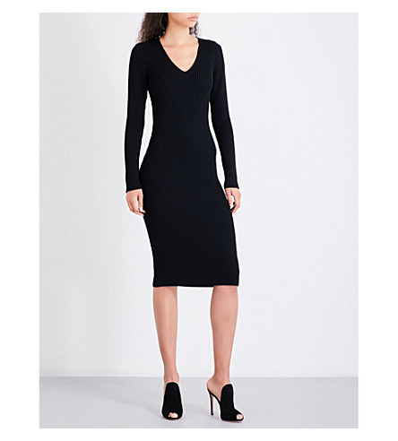 MICHAEL MICHAEL KORS V-neck fitted ribbed-knit dress (Black