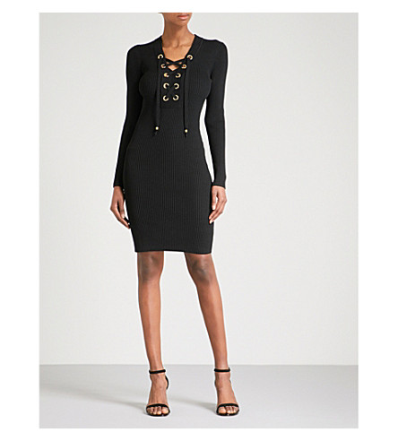 MICHAEL MICHAEL KORS Lace-up ribbed-knit dress (Black