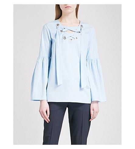 MICHAEL MICHAEL KORS Lace-up stretch-cotton shirt (Cloud