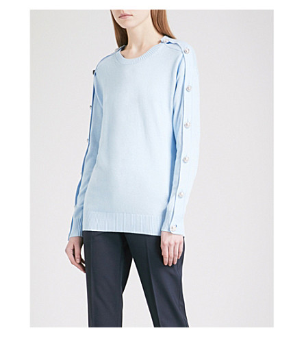 MICHAEL MICHAEL KORS Button-embellished cotton-blend jumper (Cloud