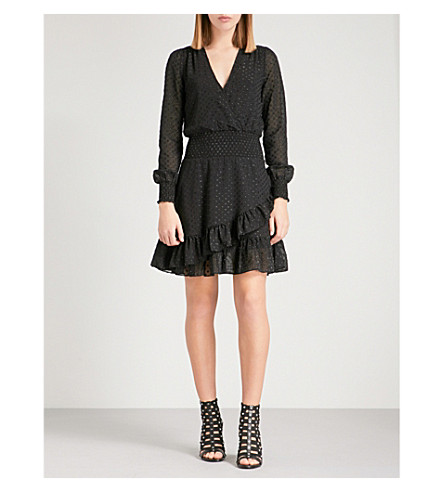 MICHAEL MICHAEL KORS Metallic polka-dot jacquard chiffon dress (Black