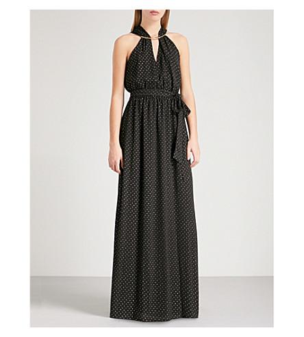MICHAEL MICHAEL KORS Metallic polka-dot pattern crepe gown (Black/+gold