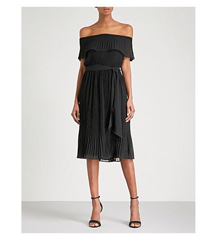 MICHAEL MICHAEL KORS Off-the-shoulder pleated chiffon dress (Black