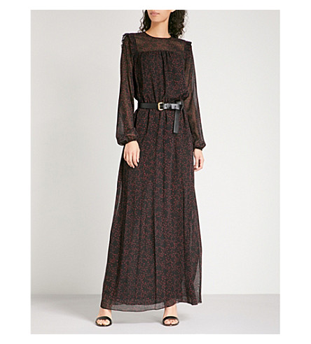 MICHAEL MICHAEL KORS Star-print belted chiffon dress (Merlot/black