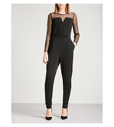 MICHAEL MICHAEL KORS Polka-dot mesh panel crepe jumpsuit (Black