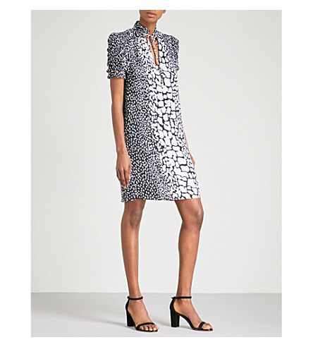 MICHAEL MICHAEL KORS Crocodile-print silk dress (Black/white