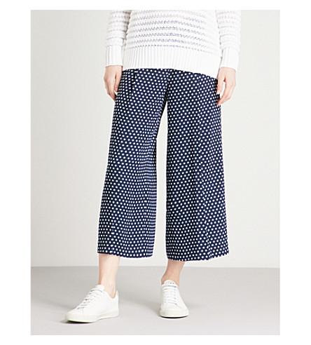 MICHAEL MICHAEL KORS Polka dot wide-leg high-rise crepe trousers (True+navy/+white