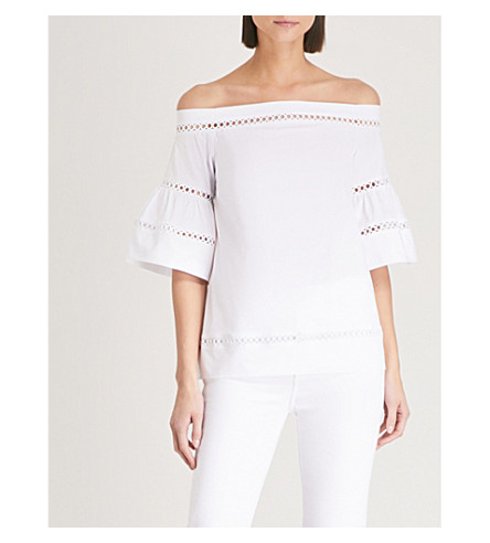 MICHAEL MICHAEL KORS Embroidered off-the-shoulder cotton-poplin top (White