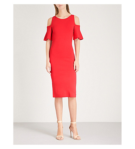 MICHAEL MICHAEL KORS Cold-shoulder fitted knitted dress (True+red