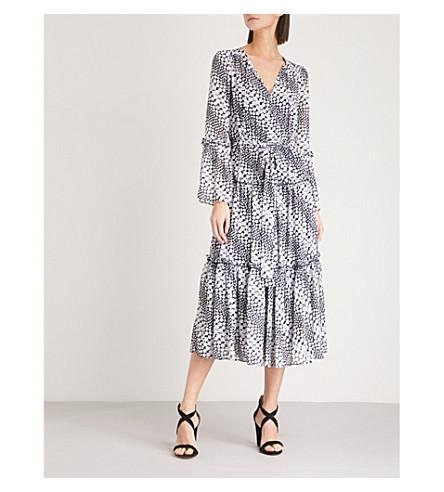 MICHAEL MICHAEL KORS Floral-print chiffon-crepe midi dress (Black/white