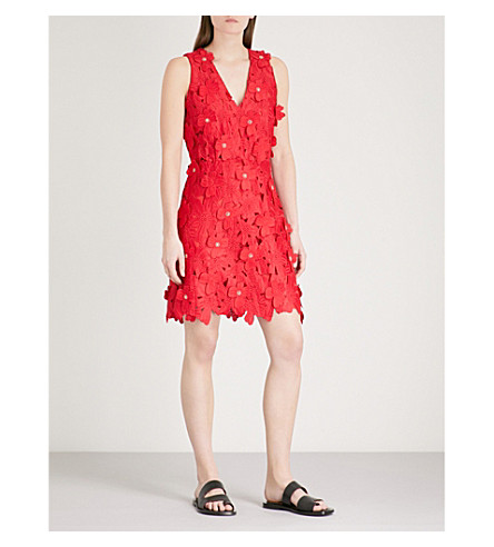 MICHAEL MICHAEL KORS Floral-embroidered sleeveless lace mini dress (True+red