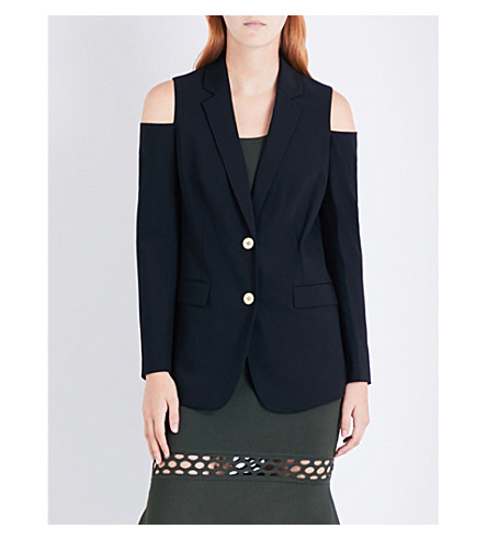 MICHAEL MICHAEL KORS Cold shoulder single-breasted stretch-wool jacket (Black